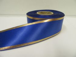 Royal Dark Blue with Metallic Gold Tramlines Satin Ribbon  2 or 20 metres 25mm 38mm Roll